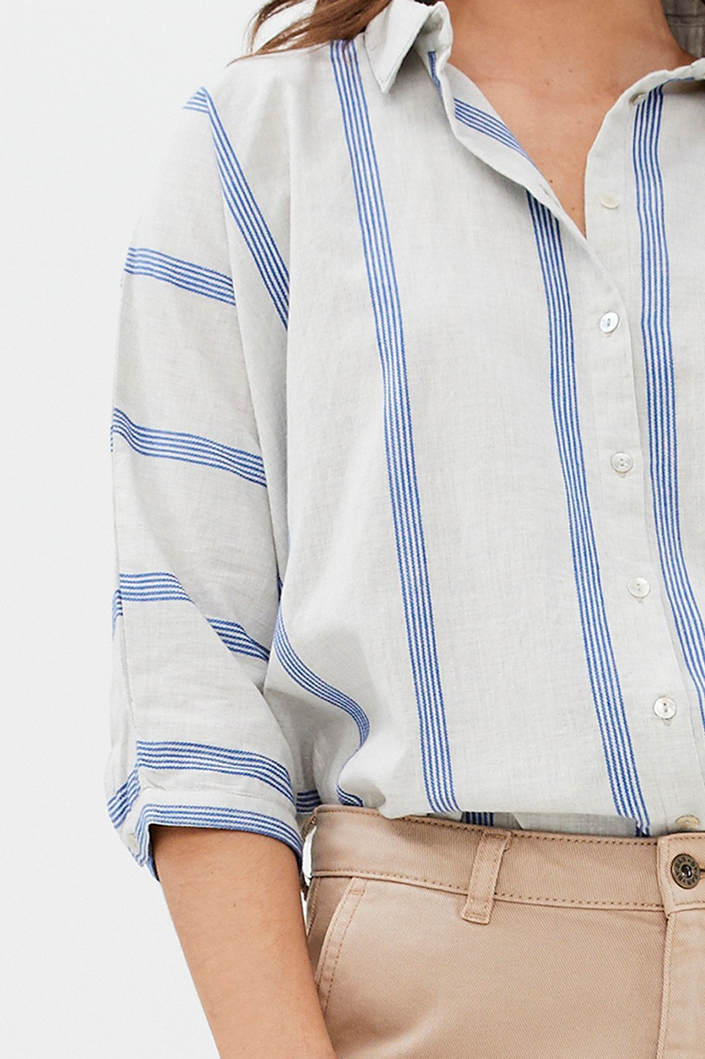 By-Bar - norel striped blouse powder blue