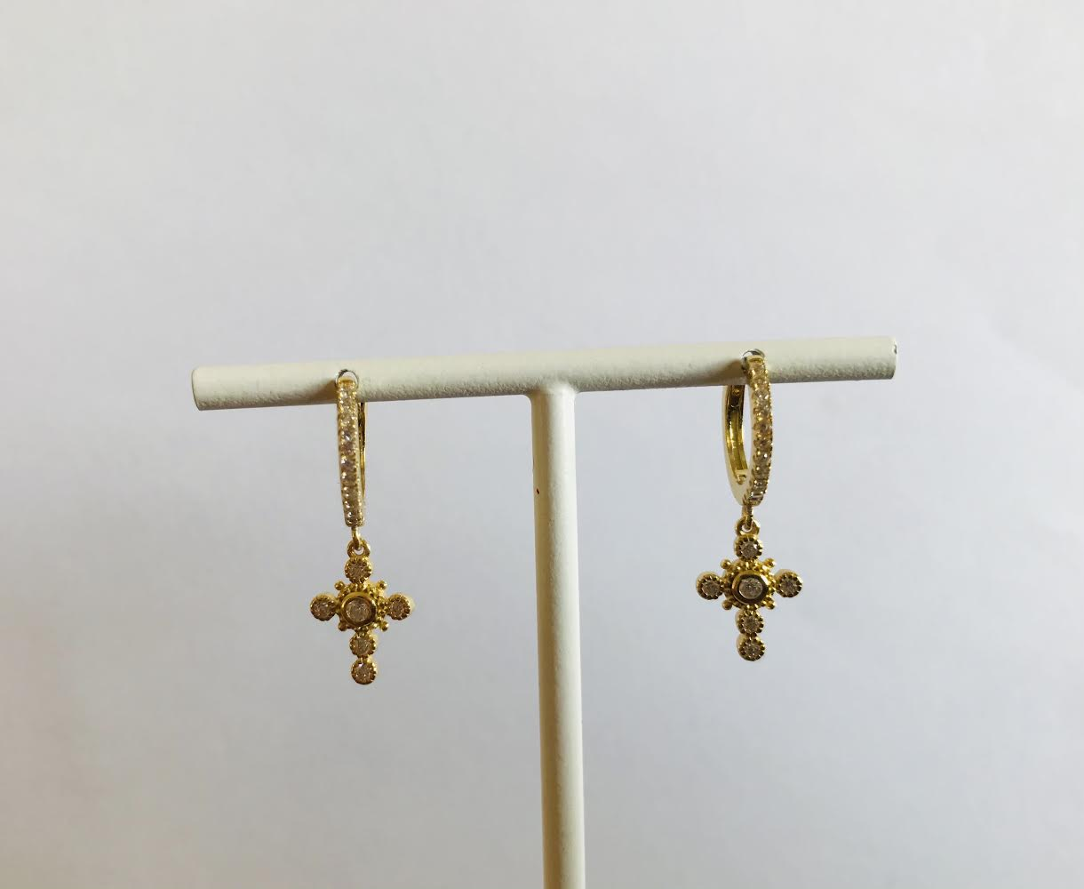 SAM & CEL - Gold plated zirconia creole earrings with pendant