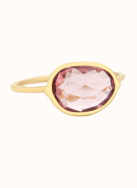 Céline Daoust - light yellow gold with pink tourmaline maya ring
