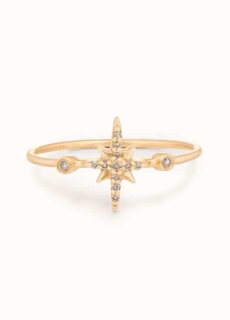 Céline Daoust 14kt light yellow gold or white gold with pave diamond north star ring.