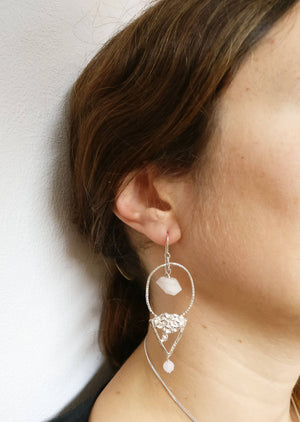 Lies Wambacq - nefertiti earring with pink quartz