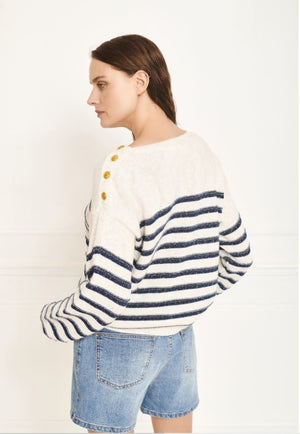 MKT studio - kamou off-white blue striped knitwear