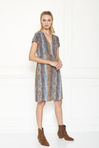 MKT studio - riblan blue animal printed dress