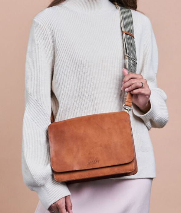 O My Bag - audrey cognac classic leather checkered strap bag