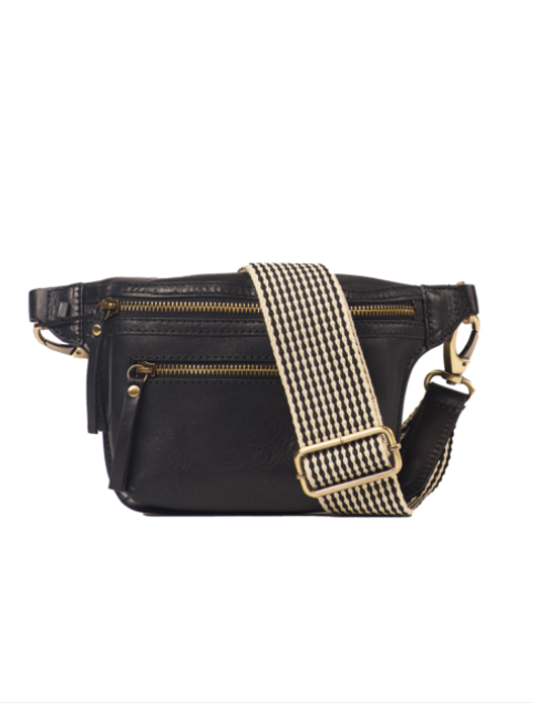 O My Bag - Beck's bum bag stromboli black leather checkered strap