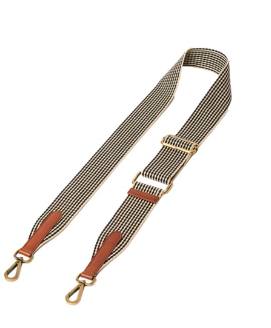 O My Bag - cognac checkered webbing strap