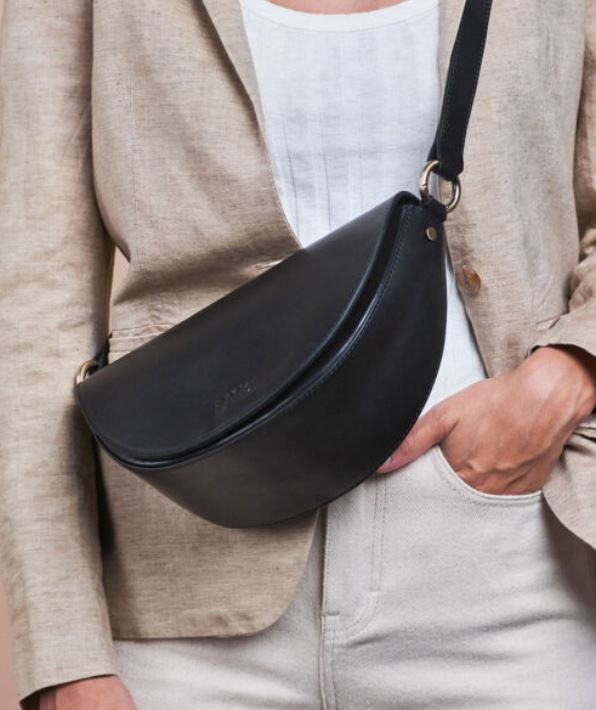 O My Bag - laura half moon black classic leather bag