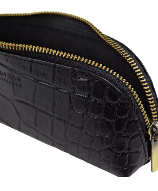 O My Bag - pencil case large black croco leather