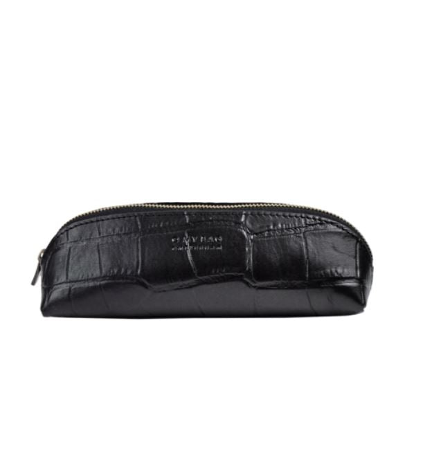O My Bag - pencil case small black croco leather