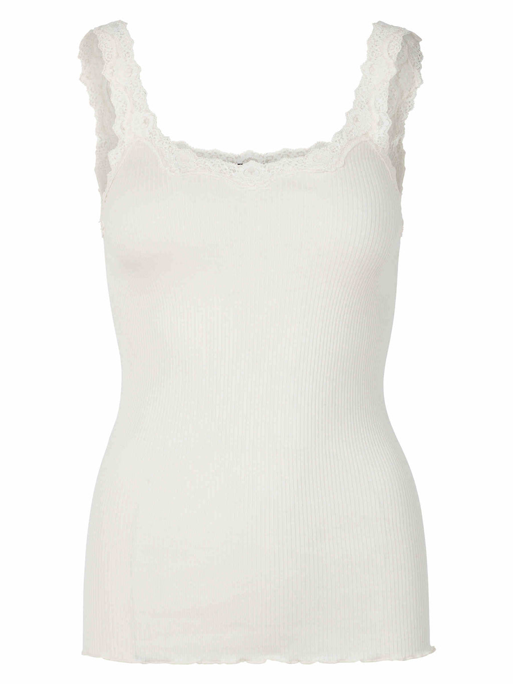 Rosemunde - silk top with beautiful lace details ivory off-white