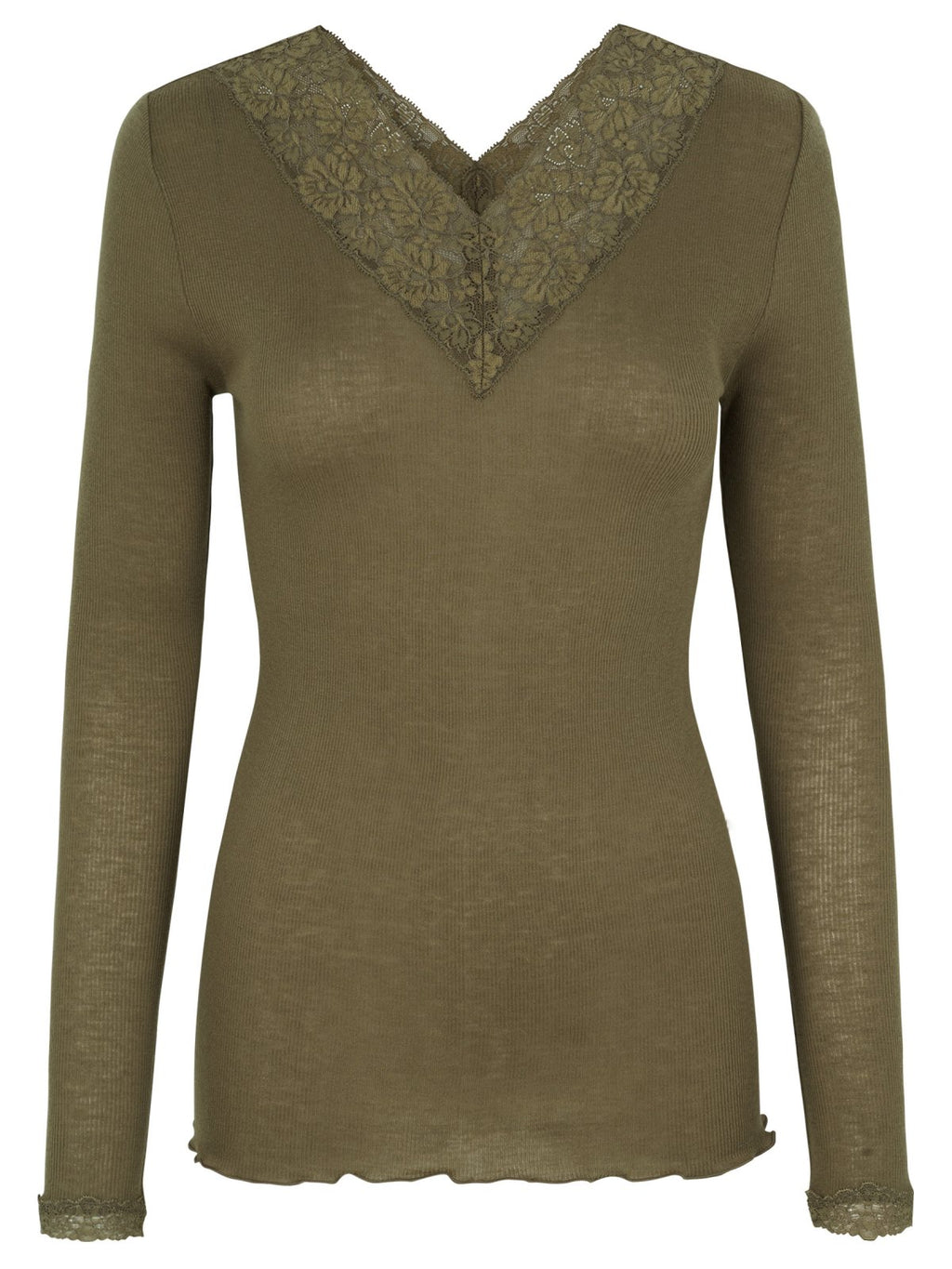 Rosemunde - wool blouse V-neck lace military olive green