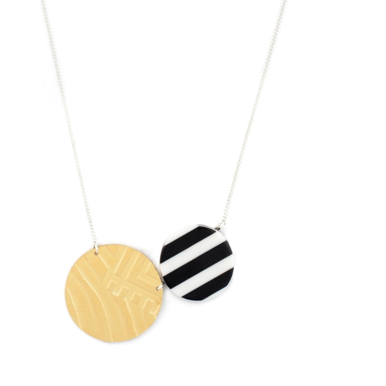 Wouters & Hendrix -  silver black and white striped circle resin and gold plated silver necklace
