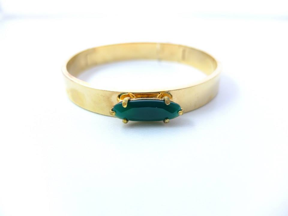 Wouters & Hendrix - gold plated silver bracelet with green agate