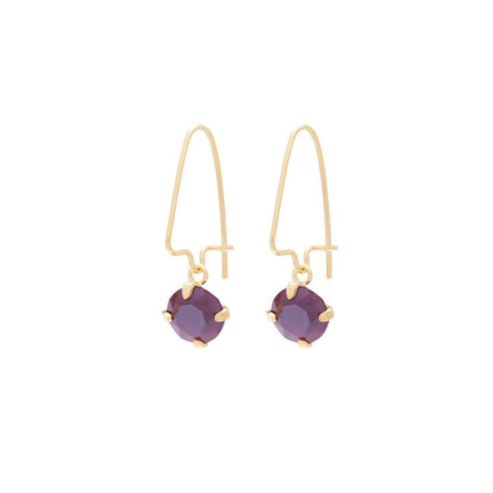 Wouters & Hendrix - gold plated silver purple crystal earrings