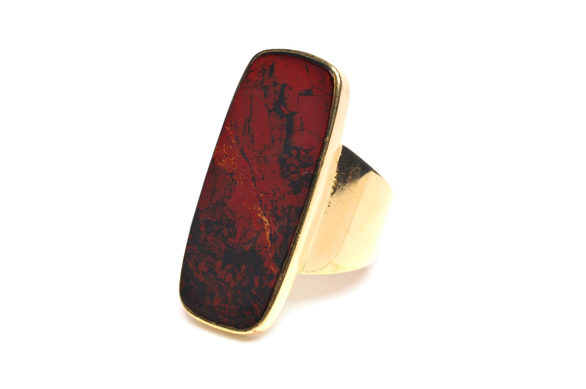 Wouters & Hendrix -  gold plated silver ring with red jaspis
