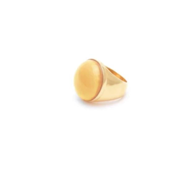 Wouters & Hendrix - large gold plated ring with yellow agate