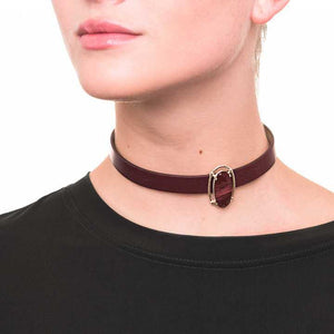 Wouters & Hendrix - leather choker with silver medallion and red jasper