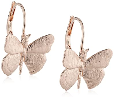 Wouters & Hendrix - pink gold plated silver butterfly earrings