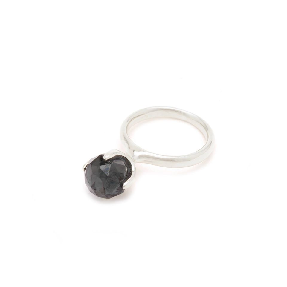 Wouters & Hendrix - silver ring with dark green spinel stone