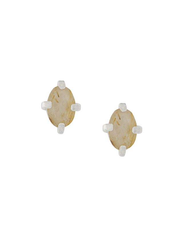 Wouters & Hendrix - subtle silver studs with rutilated quartz stones