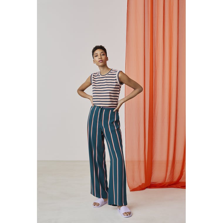 Xandres studio - pink, orange and blue striped T-shirt