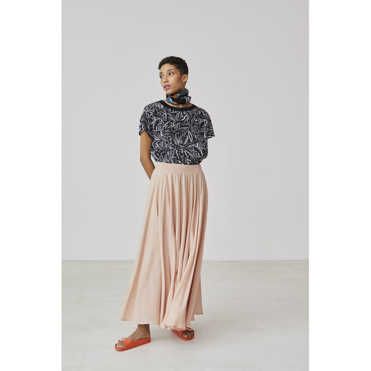 Xandres studio - salmon pink maxi skirt