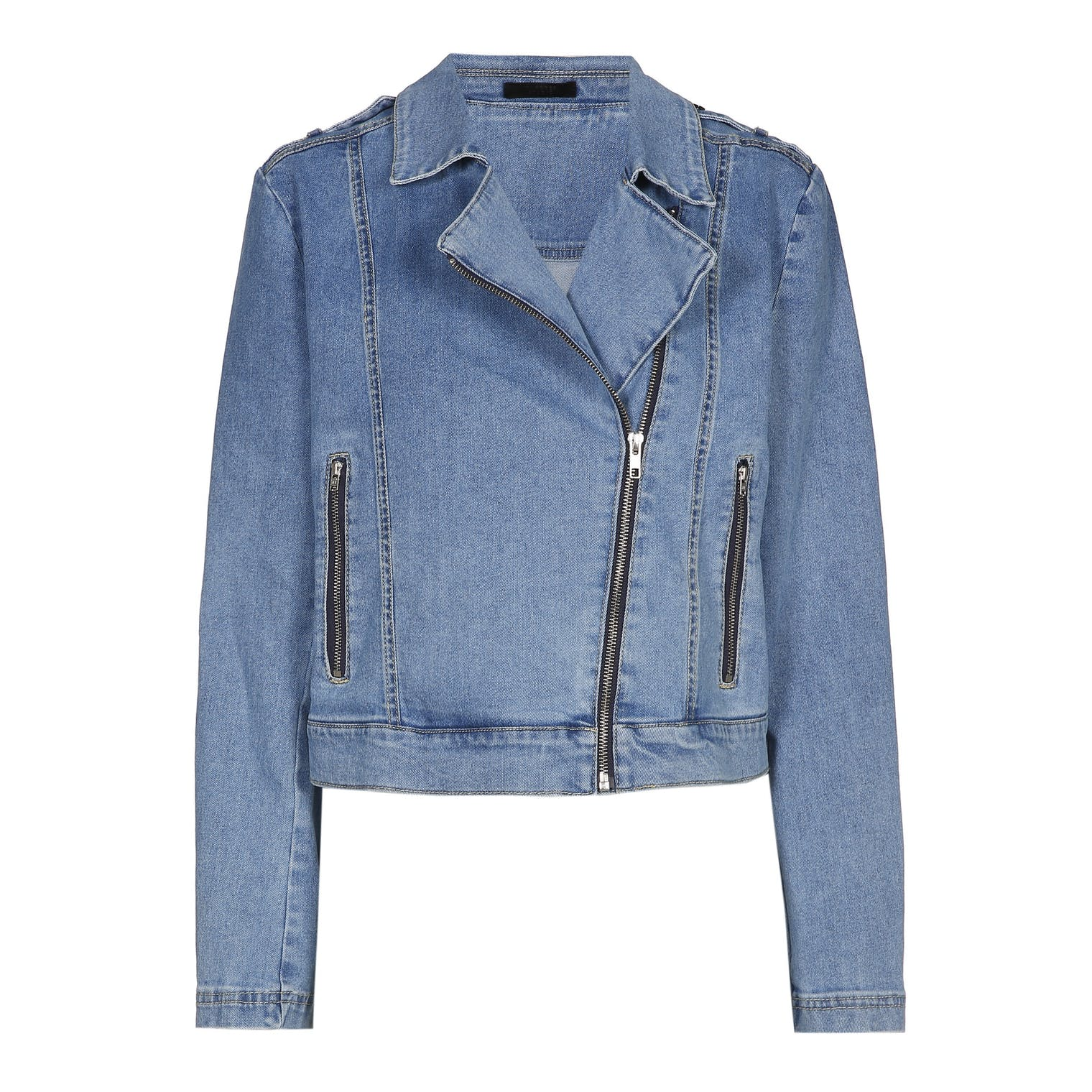 Xandres studio - iliva light blue denim biker jacket