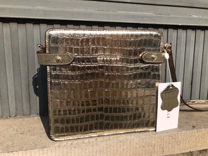 Neuville - mini mama croco bag silver