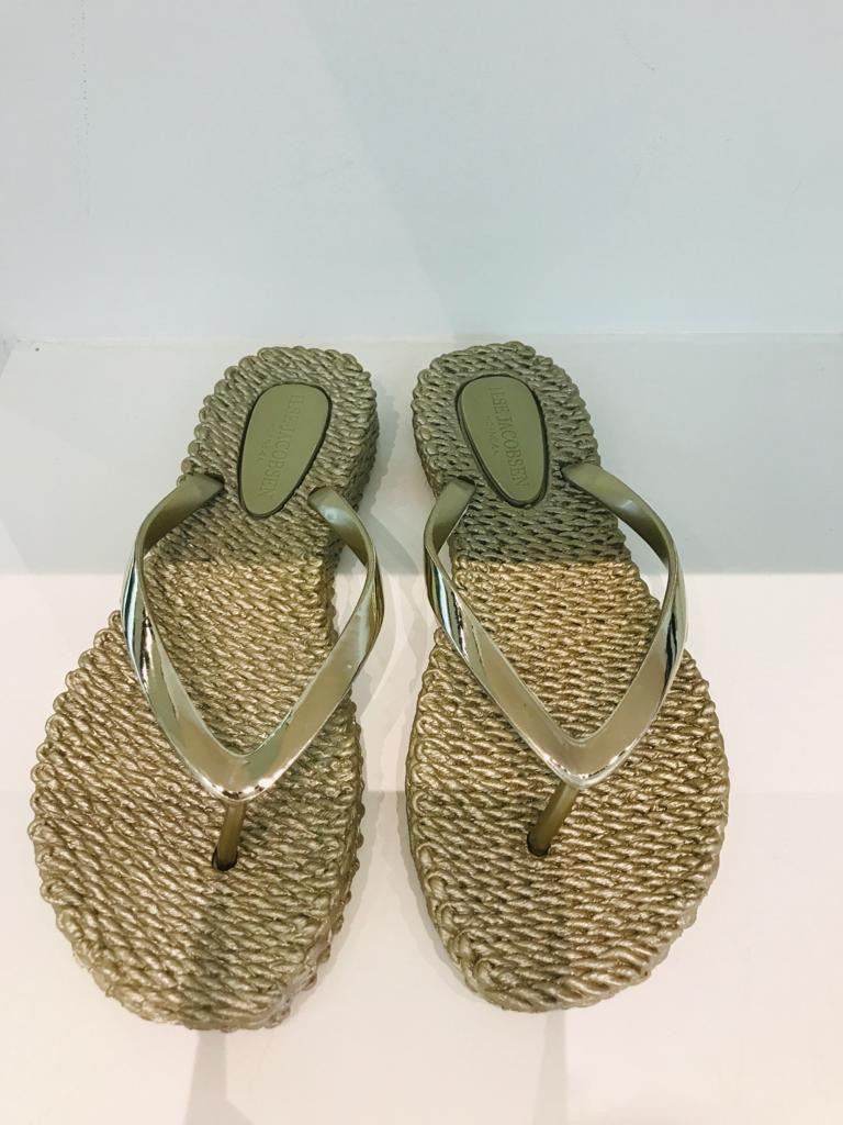Ilse Jacobsen - gold cheerful flip flops