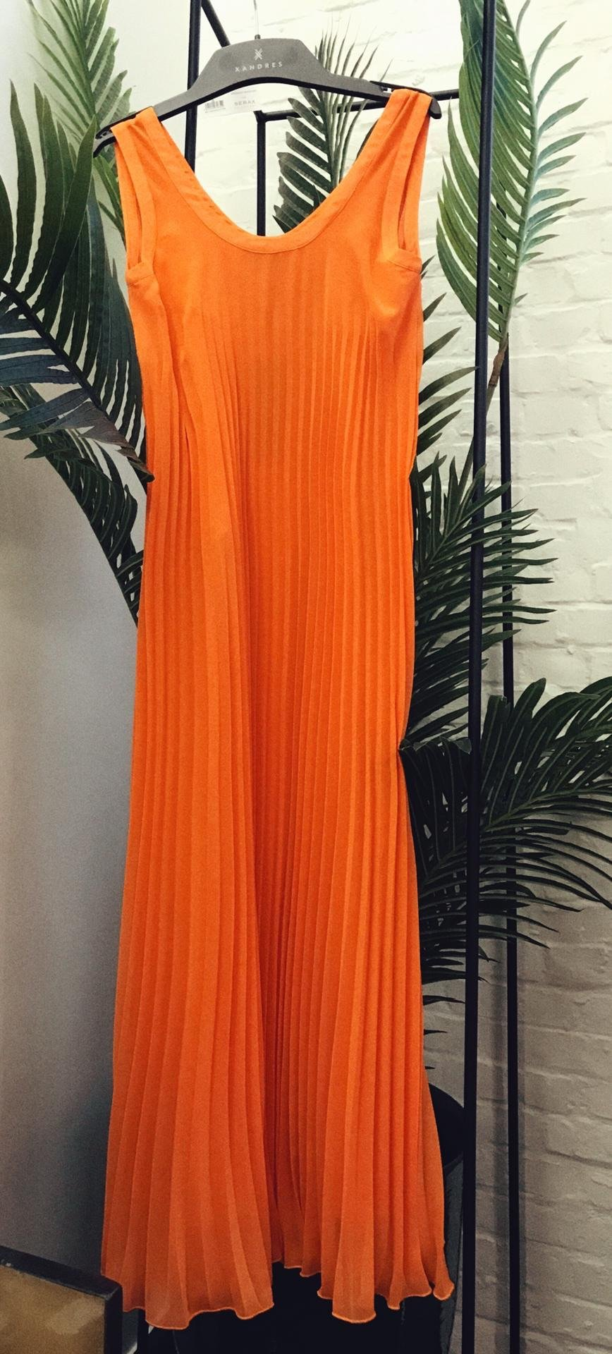 Xandres studio - ido orange pleated dress