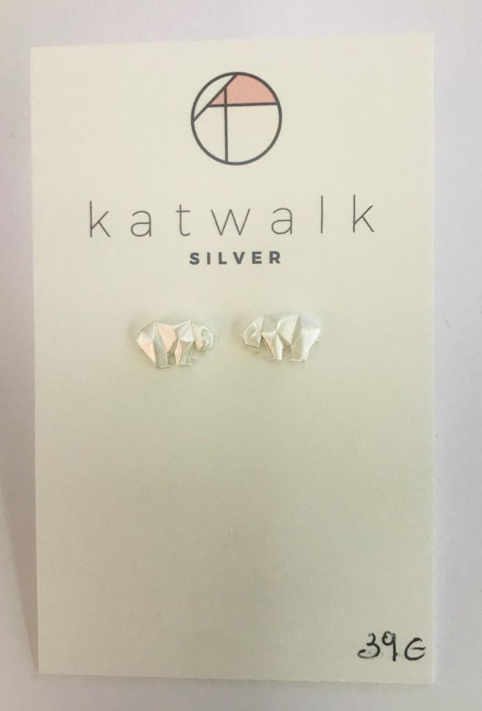 Sterling silver 925 elephant stud earrings by the Belgian brand Katwalk Silver.