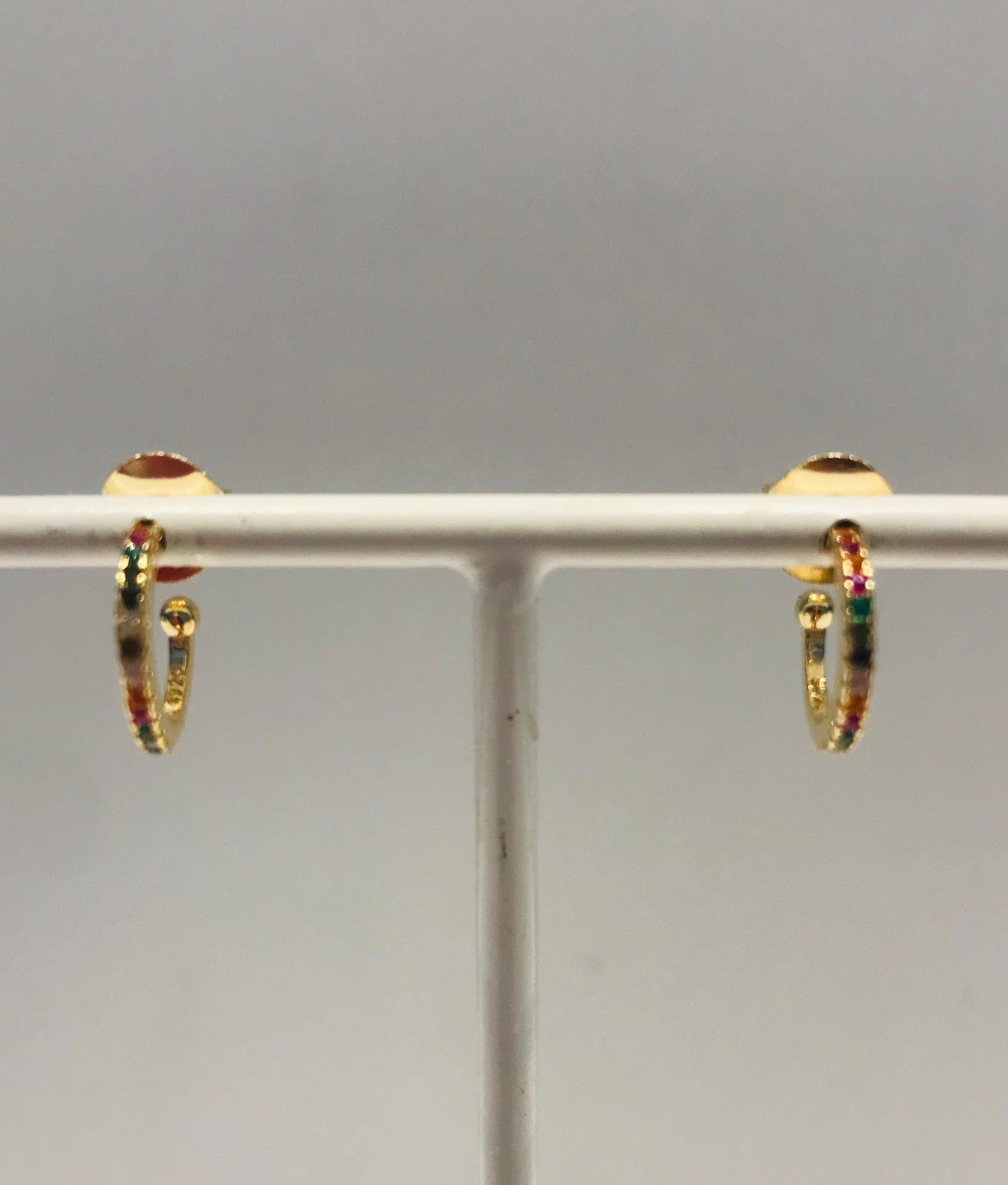 Fine gold plated creole earrings with crystals by SAM&CEL.