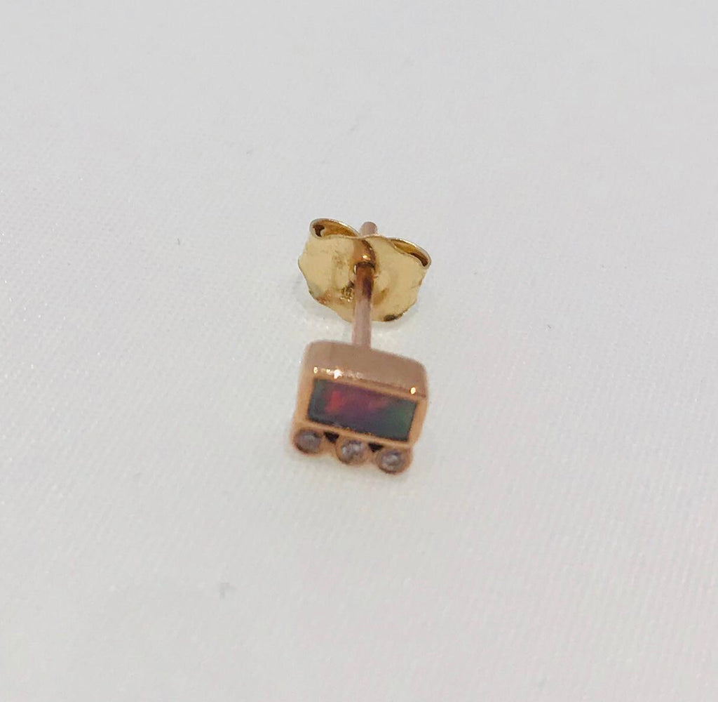 Céline Daoust 14kt pink gold earrings with baguette tourmaline and 3 diamonds.
