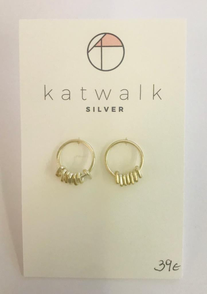 Sterling silver 925 simple hoops with tiny dangling rings by the Belgian brand Katwalk Silver.