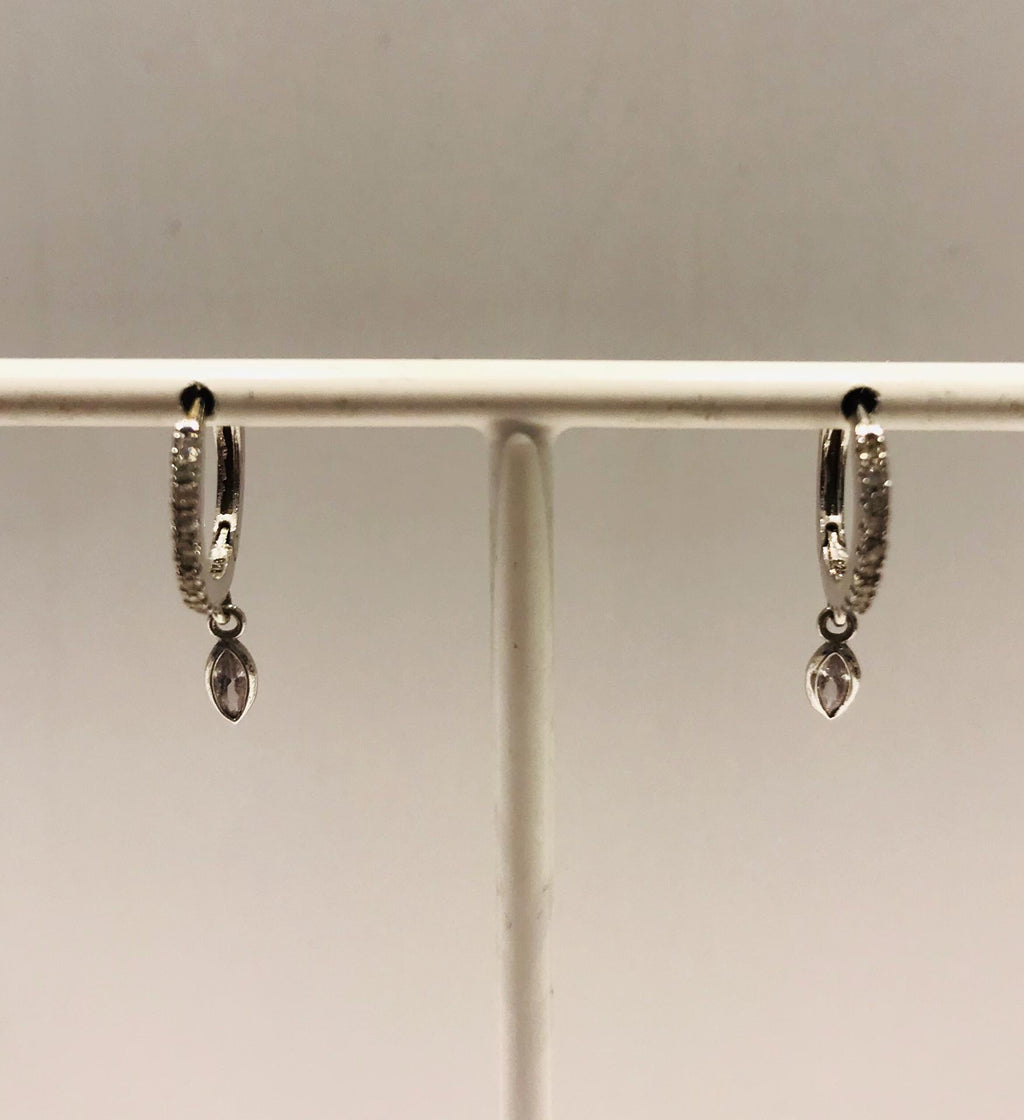 Small silver creole earrings with zirconia and pendant by SAM&CEL.