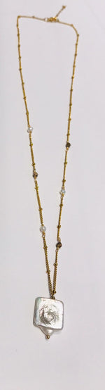 Large link necklace in steel with long freshwater pearls by SAM&CEL.