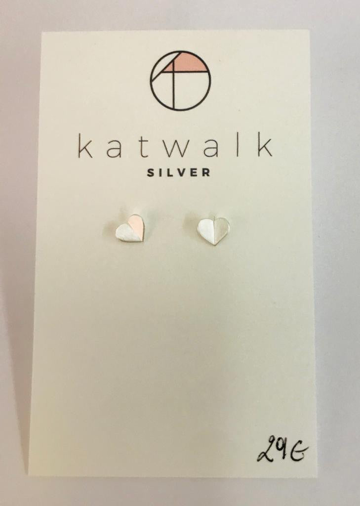 Gold plated or silver (sterling silver 925) heart butterfly stud earrings by the Belgian brand Katwalk Silver.