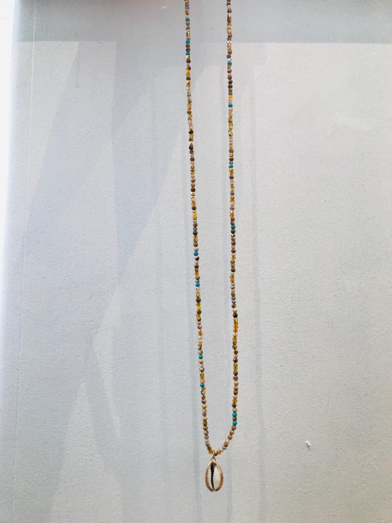 Long colourful necklace with shell pendant