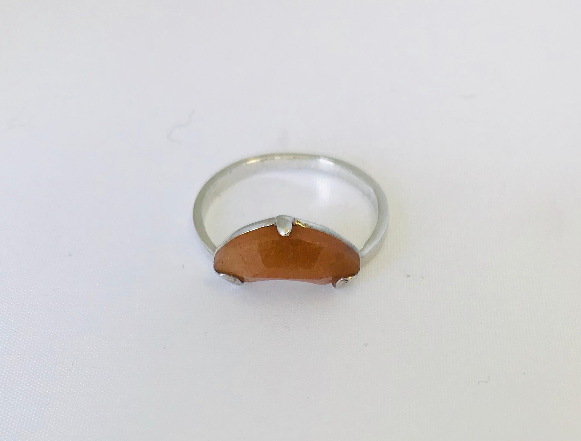 Wouters & Hendrix - silver ring with orange stone