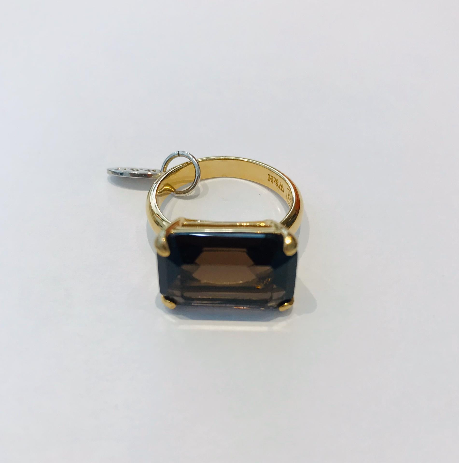 Wouters & Hendrix - gold plated smoky quartz ring