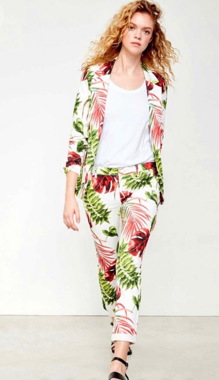 Reiko Sandy Print trousers white tropic