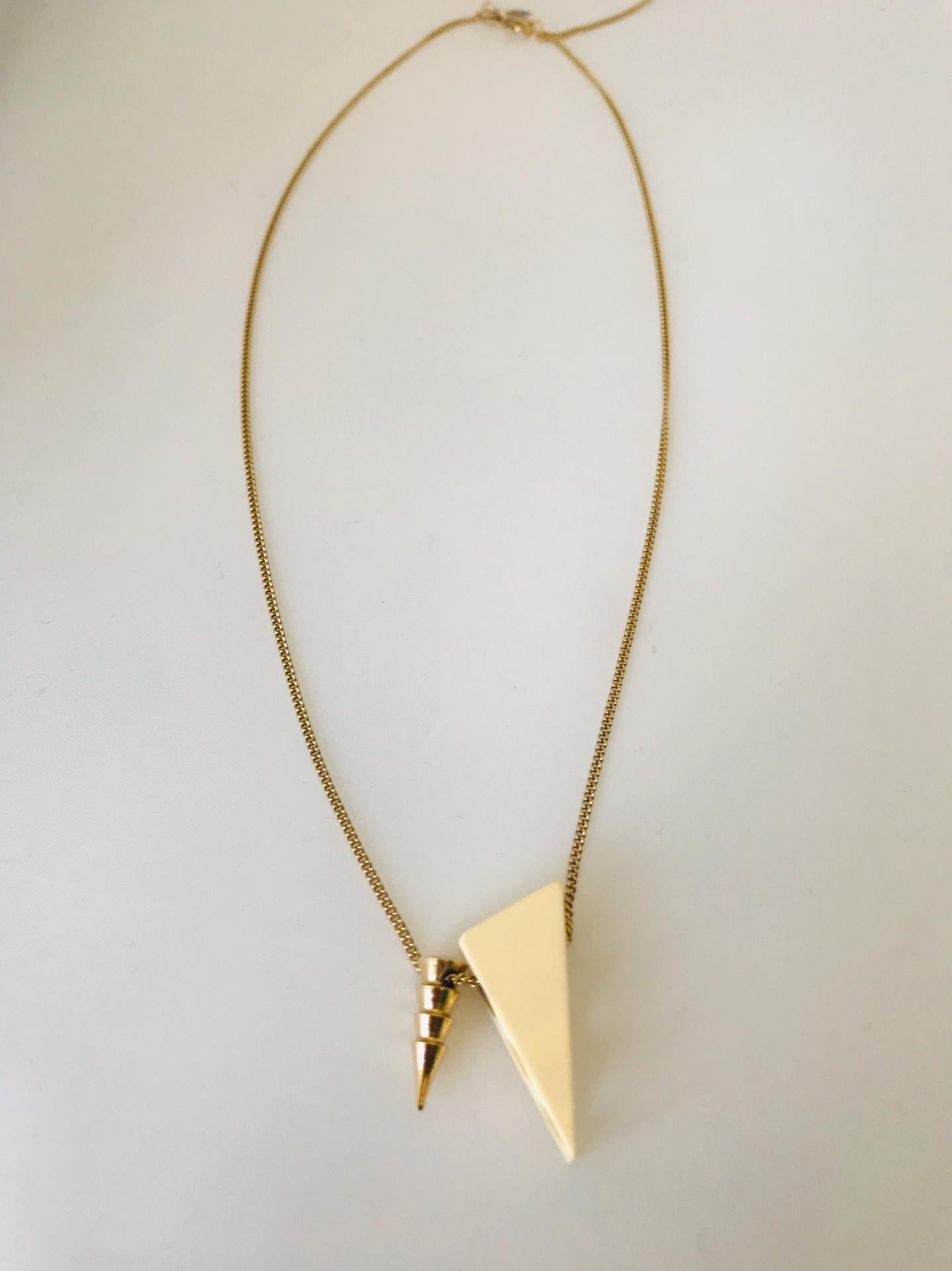 Wouters & Hendrix - gold plated pendant necklace with white perspex
