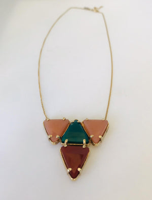 Wouters & Hendrix - gold plated necklace with sunstone, green agate and carnelian