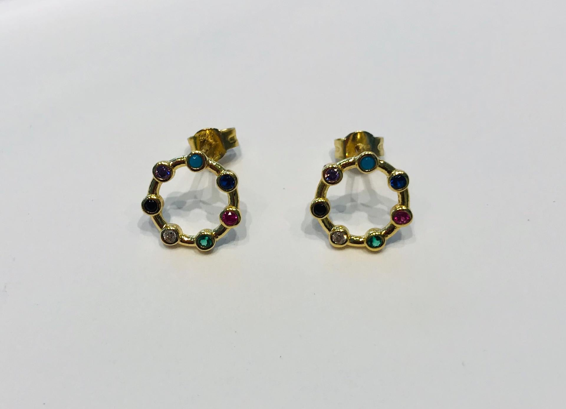 Gold plated earrings with crystals by SAM&CEL.
