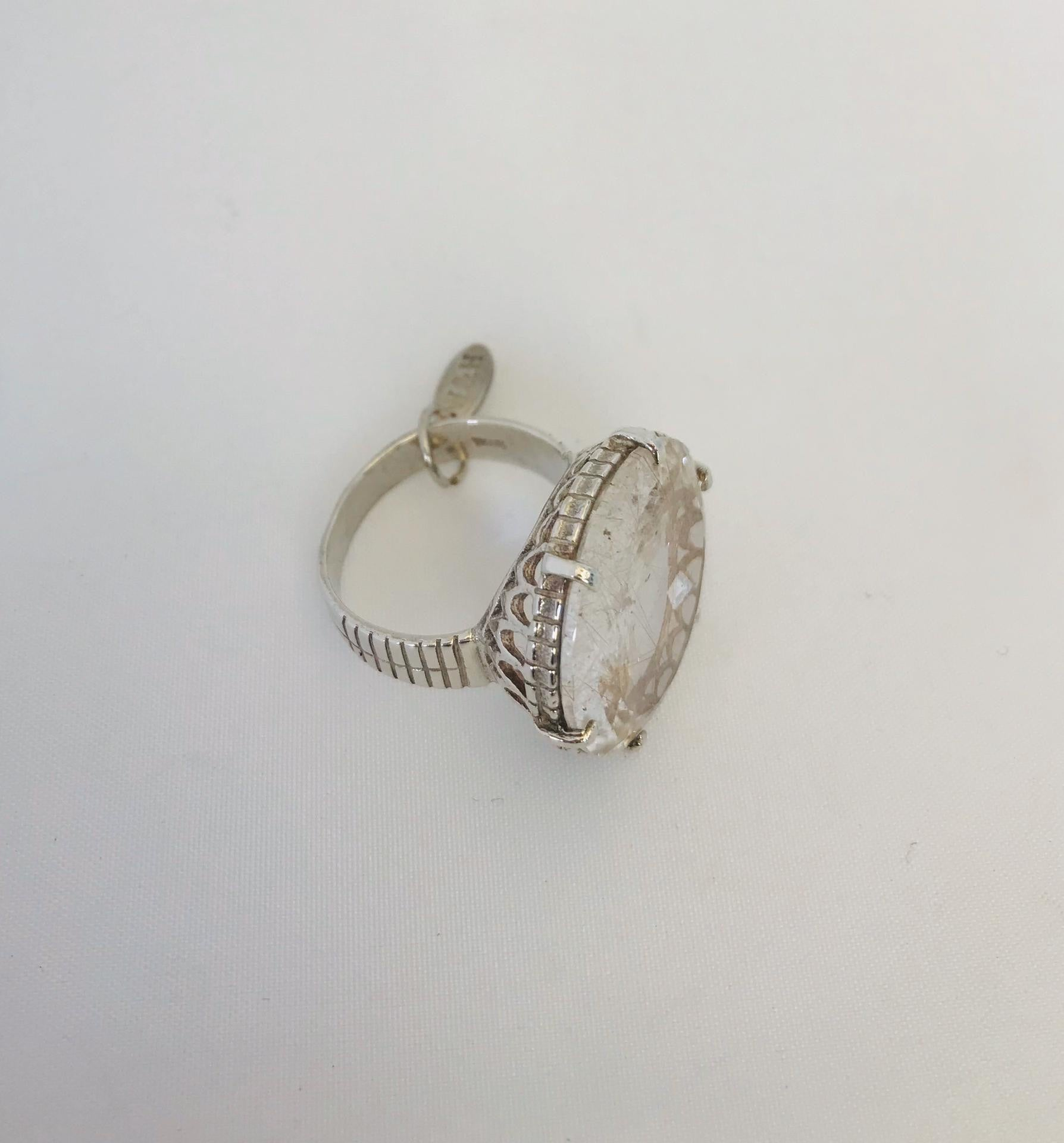 Wouters & Hendrix - silver clear rutilated quartz ring