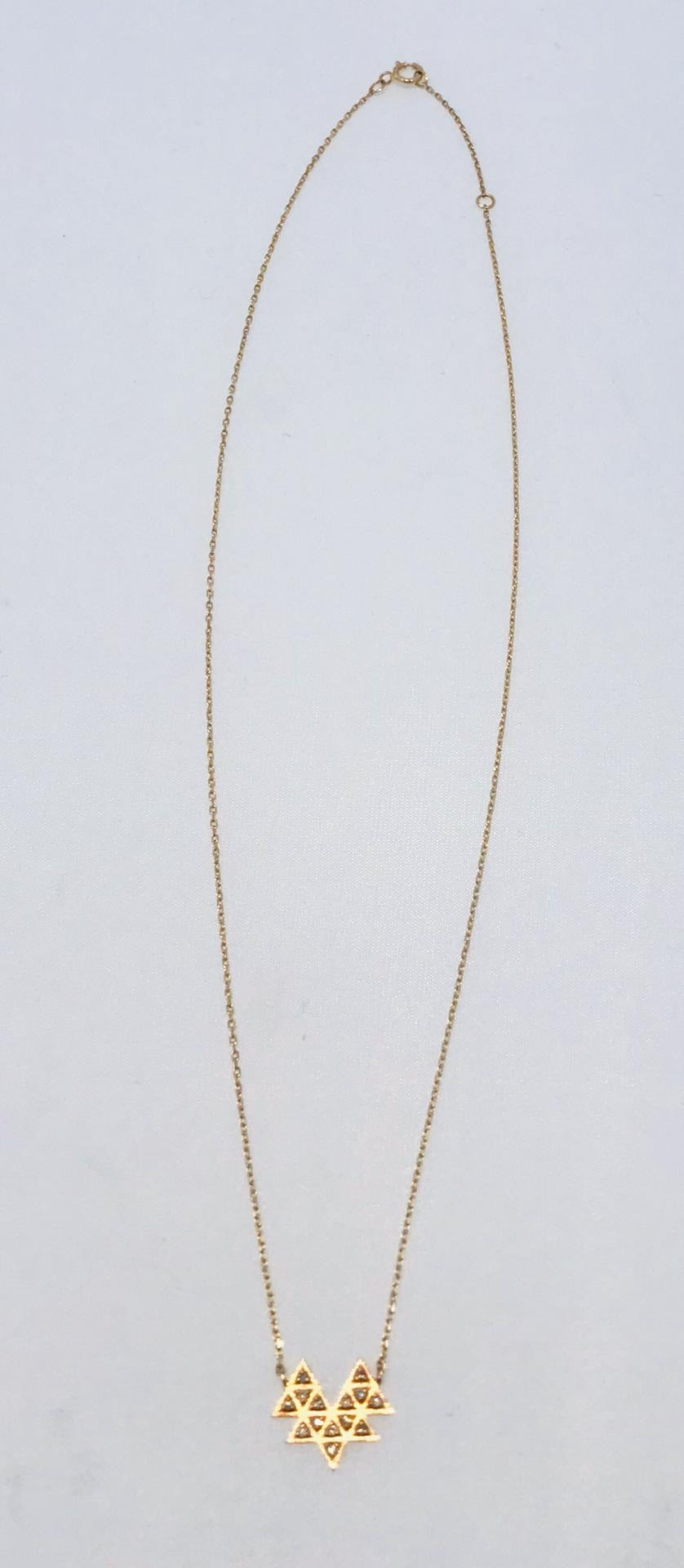 Céline Daoust - 14kt yellow gold fine necklace with 14 diamonds