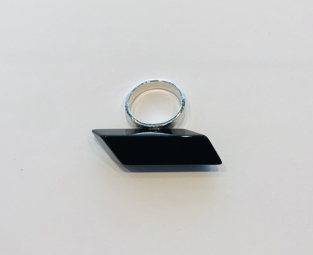 Wouters & Hendrix - silver statement ring with black onyx stone