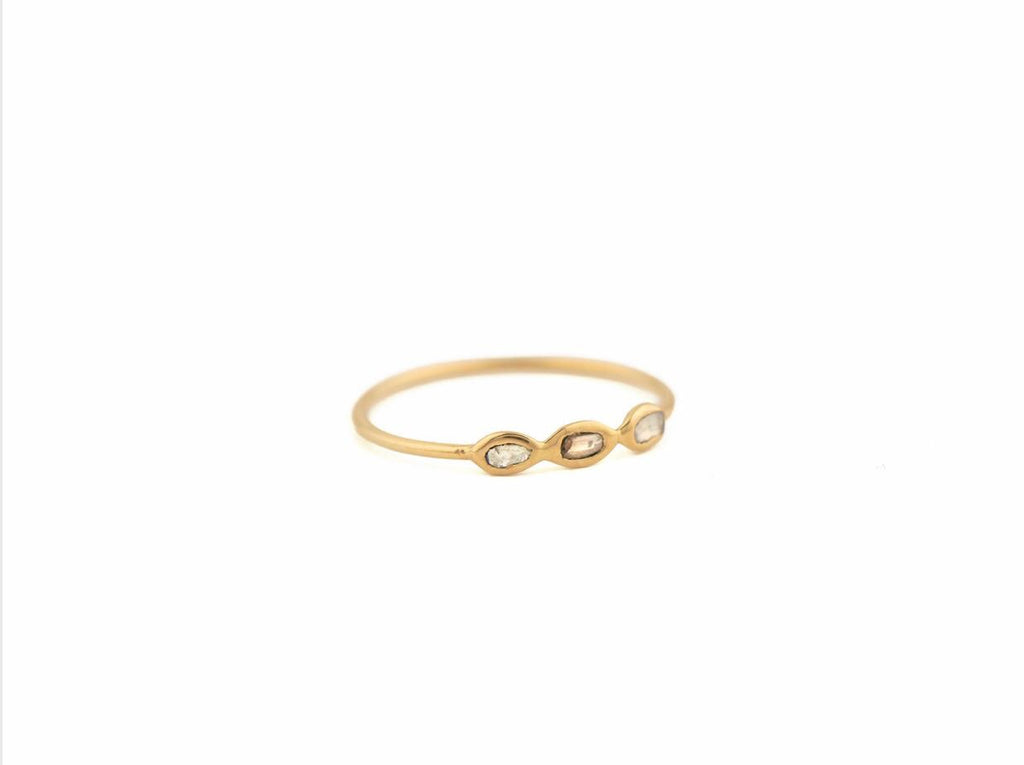 Céline Daoust small ring with 3 diamond slices in 14kt yellow gold.