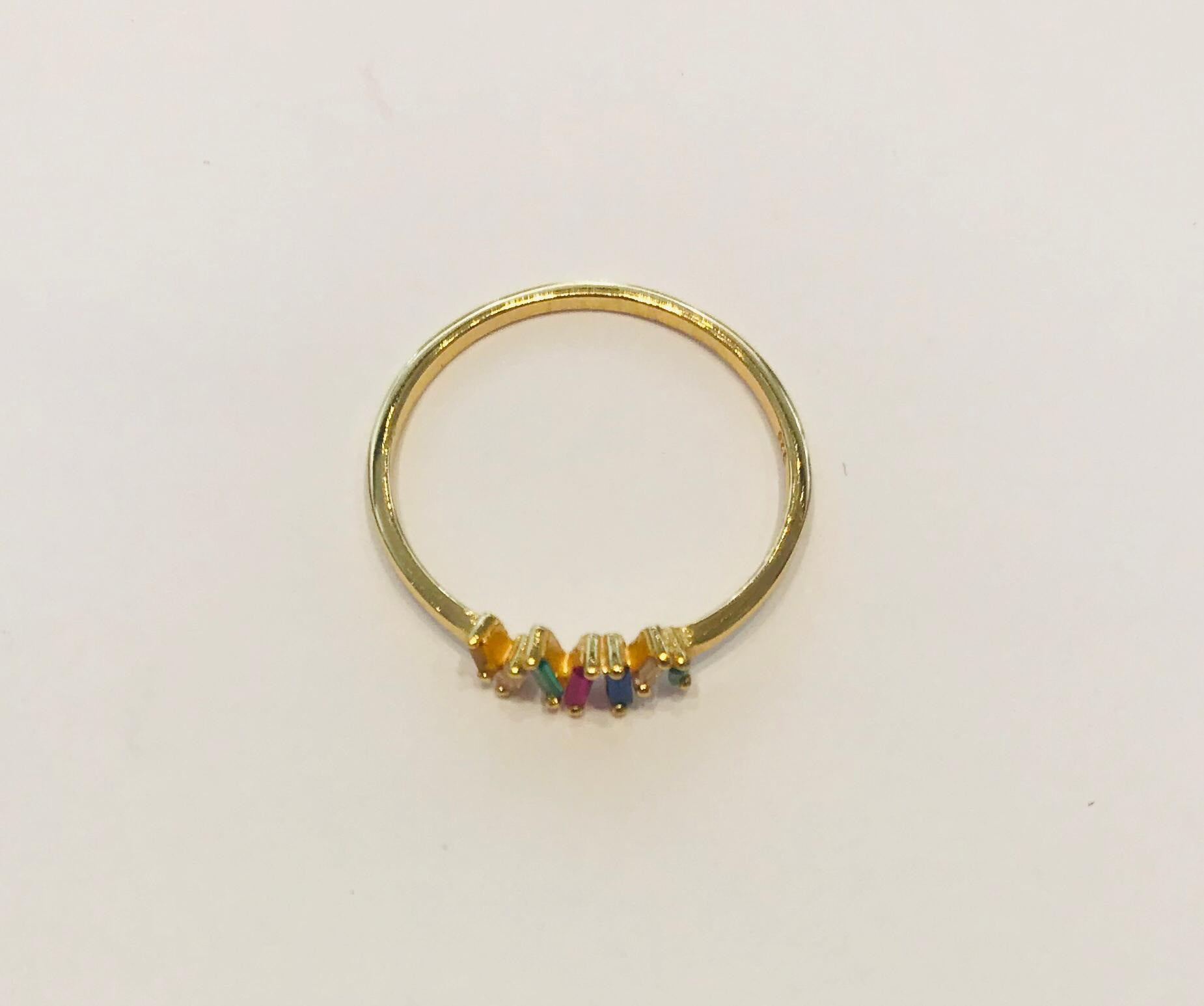 Gold plated crystal ring by SAM&CEL.