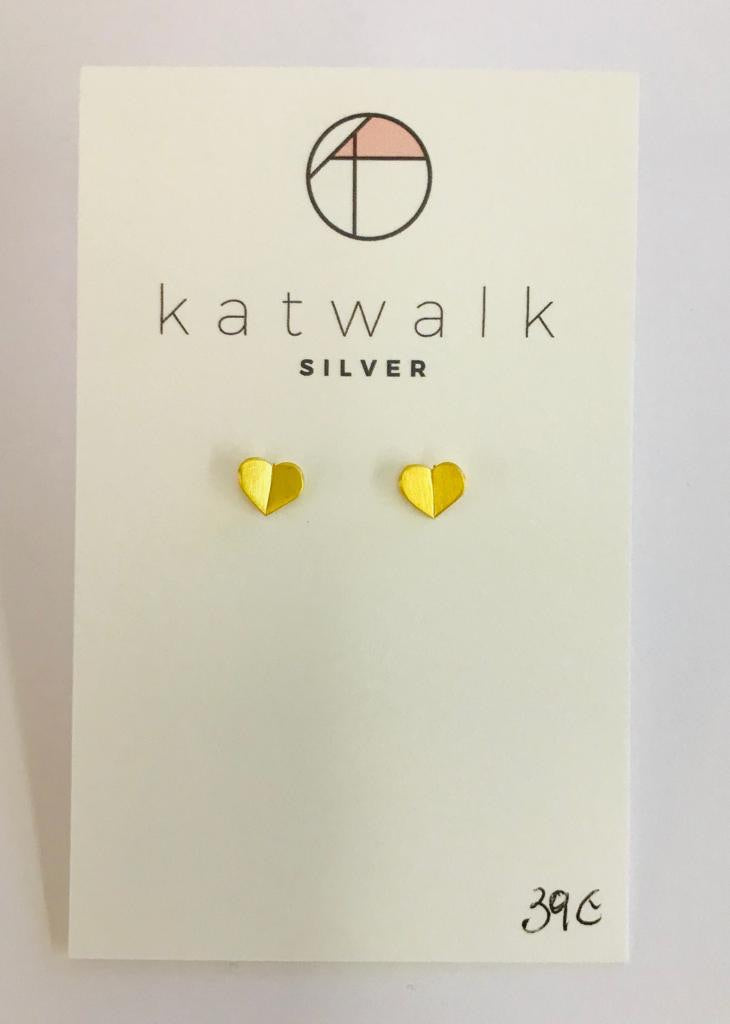 Gold plated sterling silver 925 heart butterfly stud earrings by the Belgian brand Katwalk Silver.